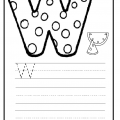 Upper case letter W worksheet for preschool and kindergarten