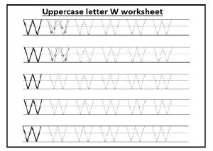 Upper case letter W worksheet free printable