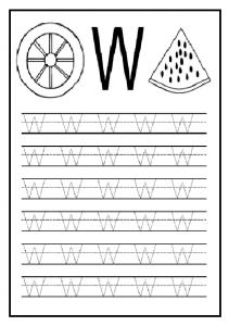 Uppercase letter W worksheet for 1'st