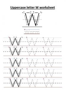 Uppercase letter W worksheet free