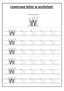 Uppercase letter W worksheet printable