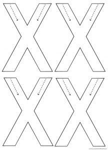 Uppercase letter X trace worksheets for kindergarten