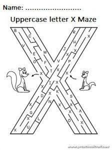 Uppercase letter x maze worksheet for preschool