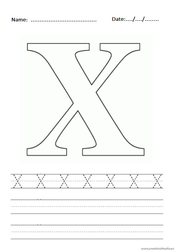 uppercase letter x worksheet free printable preschool and kindergarten. Black Bedroom Furniture Sets. Home Design Ideas