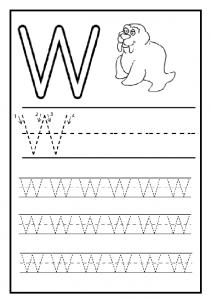 Writing Practice big letter W - Uppercase letter W worksheet