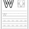 Writing Practice small letter W - Lowercase letter W worksheet