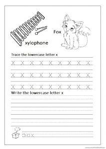 lowercase letter x worksheets for kindergarten and 1st'grade