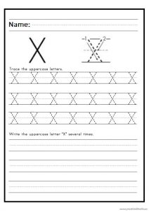 practice writing the uppercase letter X