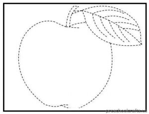 printable trace the line apple for prechool