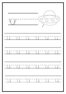 Lowercase letter u free printable worksheet for kindergarten - elementary school