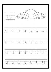 Lowercase letter u free printable worksheet for kindergarten - primary school