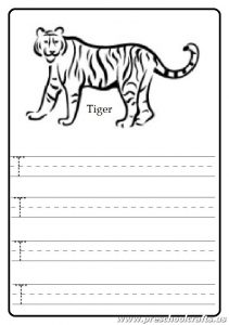 Uppercase letter T worksheet - Tiger coloring page
