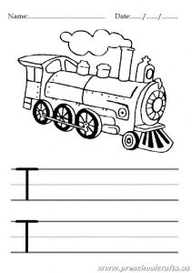 Uppercase letter T worksheet for 1st grade and kindergarten - Train coloring