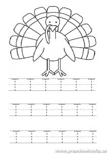 Uppercase letter T worksheet for 1st grade and kindergarten - Turkey coloring