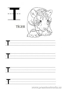 Uppercase letter t worksheet for kindergarten and 1st grade - tiger coloring page