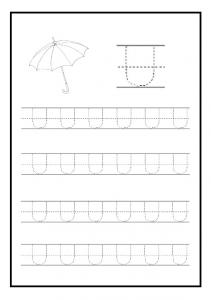 Uppercase letter u free printable worksheet for kindergarten and elementary school