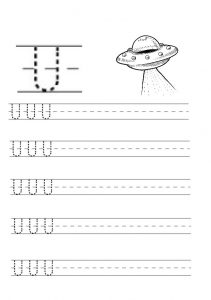 Uppercase letter u free printable worksheet for kindergarten and primary school