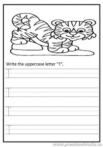 Write the uppercase letter t worksheet - tiger coloring page