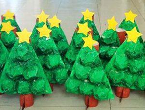 egg carton christmas tree craft idea for preschool