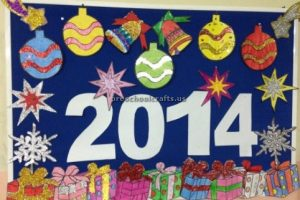 Happy new year bulletin board for kindergarten