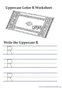 Uppercase letter r writing worksheets is for rug - 1st grade
