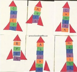 Rectangle rocketship craft idea for preschool and kindergarten