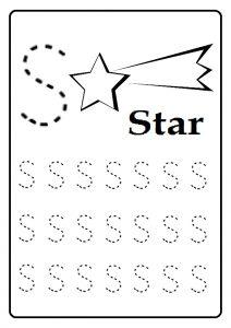 Trace Uppercase letter S worksheet for kindergarten and first grade