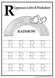 letter r worksheets uppercase letter r worksheets free printable preschool 23125 | Trace the Uppercase letter R Worksheet free printables 212x300