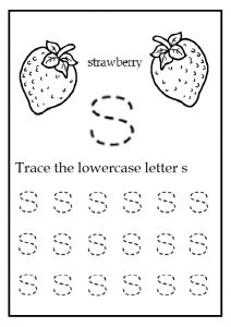 Trace the lowercase letter s worksheet for kindergarten - color the strawberry