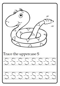 Trace the uppercase S worksheet for kindergarten and firstgrade
