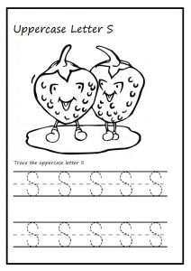 Trace the uppercase letter S worksheet for kindergarten and 1st grade