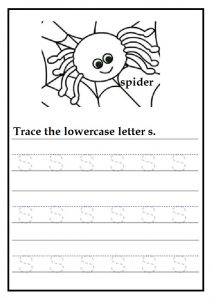 Tracing lowercase letter s worksheets