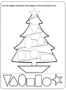 cut paste christmas worksheet printable for preschool