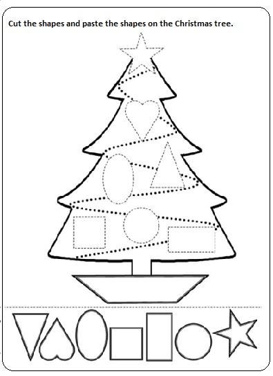 cut paste christmas worksheet printable for preschool ...