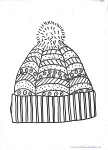 free printable winter hat mandala coloring page for kids