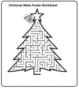 kindergarten christmas maze puzzle free worksheets
