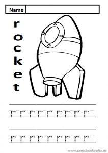 lowercase letter r practice worksheet is for rocket sheet for kindergarten