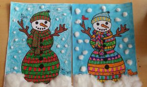 mandala snowman coloring craft idea for kids