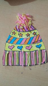 preschool winter hat yarn and coloring design craft ideas