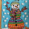 printable mandala snowman coloring activity for kids