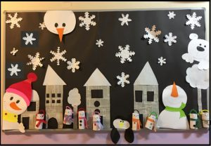 winter preschool bulletin boards from recycle materials