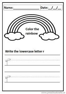 write the lowercase letter r worksheet for preschool and kindergarten