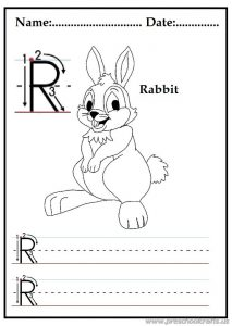 writing uppercase letter r is for rabbit worksheets for 1st grade