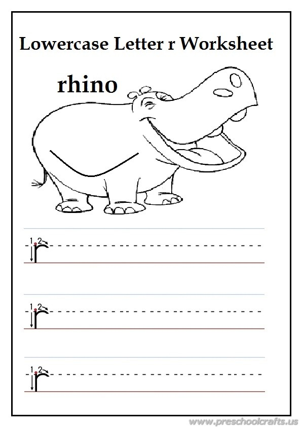 writing uppercase letter r is for rhino worksheets for 1st grade