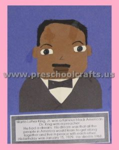 Martin Luther King Craft for Preschool Kindergarten