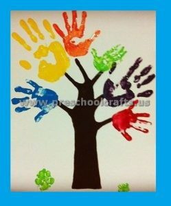 Martin Luther King Day Hand Print Tree Craft Ideas for Preschool Kindergarten