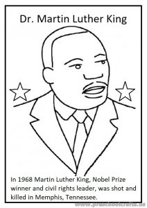 Preschool Kindergarten Martin Luther King Day Coloring Page
