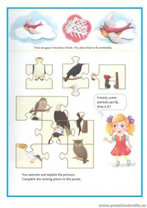 Puzzle worksheet for preschooler and kindergartner