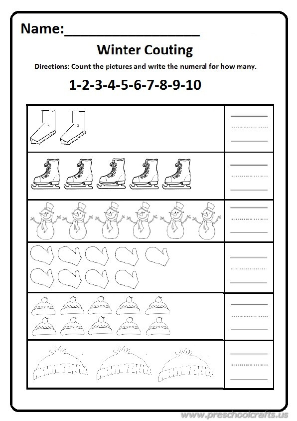 Winter count 1 to 10 worksheet free printable for preschool and ...