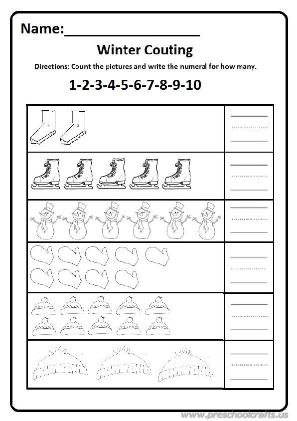 Printable Worksheets printable worksheets free : Winter Worksheet for Preschool and Kindergarten / Free Printable ...